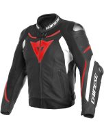 Dainese Super Speed 3 Leather Jacket Black/White/Fluo Red N32