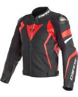 Dainese Avro 4 Leather Jacket Black Matt/Lava Red/White 25A