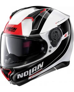 Nolan N87 Skilled N-Com Metal White/Black/Red 98