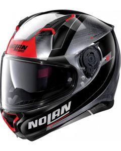 Nolan N87 Skilled N-Com Scratched Chrome/Black/Red 100
