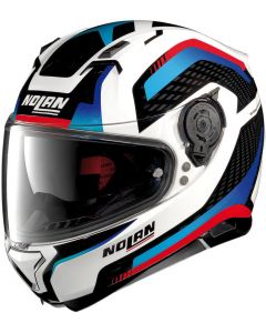 Nolan N87 Arkad N-Com Metal White/Blue 040