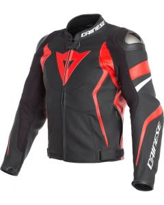 Dainese Avro 4 Leather Jacket Black Matt/Lava Red/White 25A